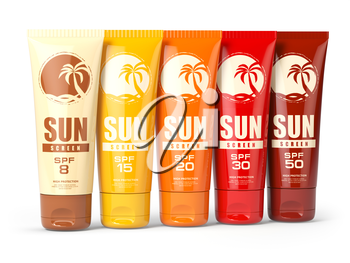 Row ofSun screen cream, oil and lotion containers with different spf number. Sun protection and suntan cosmetics isolated on white background. 3d illustration
