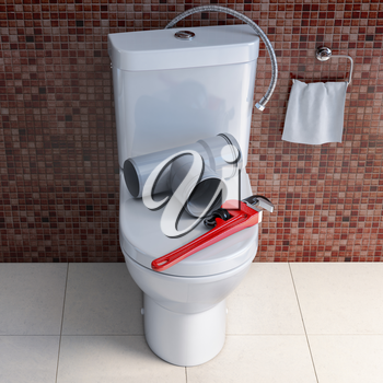 Plumber tools and pvc plastic tubes  on the bowl in bathroom. Plumbing repair service. 3d illustration
