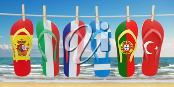 Hanging flip flops in colors of flags of  different mediterranean european countries Spain, Italy, France, Portugal, Greece and Turkey. Travel and tourism concept. 3d illustration