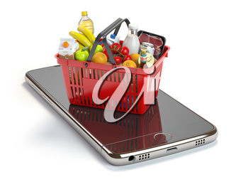 Smartphone and shopping basket with  food and drink. Online grocery supermarket concept. 3d illustration