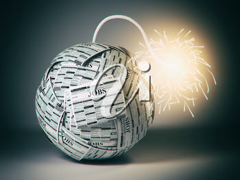 Searching new job concept. Bomb from newspapers  with job vacations  and  wick and sparks. 3d illustration