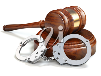 Gavel and handcuffs isolated oin white background. Law and justice concept. 3d illustration