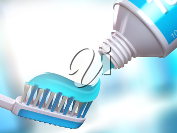 Toothbrush and tube of toothpaste. 3d illustration