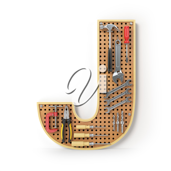 Letter J. Alphabet from the tools on the metal pegboard isolated on white.  3d illustration