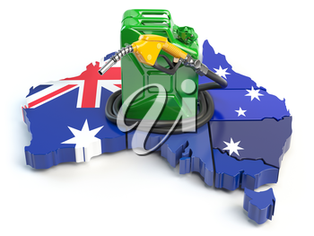 Gasoline and petrol consumption and production in Australia. Map of Australia with jerrycan and gas pump nozzle. 3d illustration