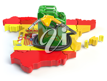 Gasoline and petrol consumption and production in Spain. Map of Spain with jerrycan and gas pump nozzle. 3d illustration