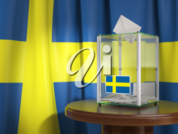 Ballot box with flag of Sweden and voting papers. Swedish presidential or parliamentary election.  3d illustration