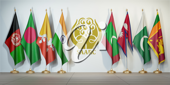 SAARC. Flags of memebers of South Asian Association for Regional Cooperation and symbol. 3d illustration
