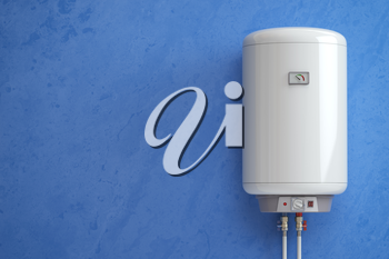 Electric boiler, water heater on the blue wall. 3d illustration