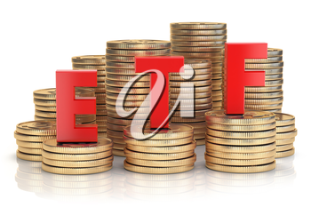 ETF exchange traded fund onthe stacks of golden coins. Stock exchenge and investment concept. 3d illustration