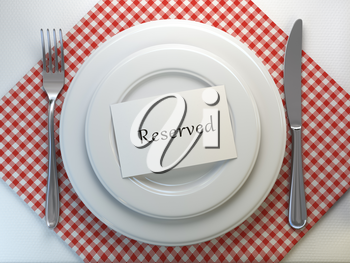Reserved card on a restaurant table setting. Top view. Mock up. 3d illustration