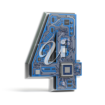 Number 4 four, Alphabet in circuit board style. Digital hi-tech letter isolated on white. 3d illustration