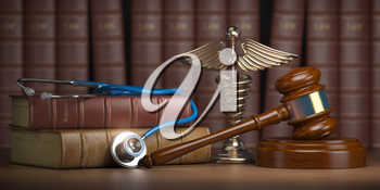 Gavel, stethoscope and caduceus sign on books background. Mediicine laws and legal, medical jurisprudence. 3d illustration
