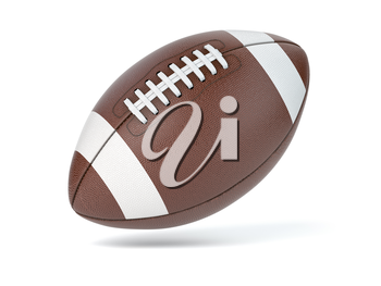 American football ball isolated on white background. 3d illustration