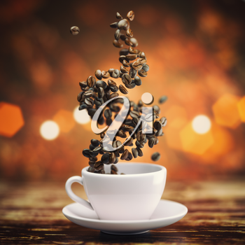 Coffee cup with coffee beans on wooden teble. 3d illustration