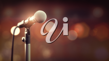 Microphone on abstract background. Audio, music, multimedia. 3d illustration