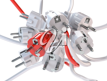 Unique red electric plug in the heap of a white plugs. Leadership, competition, unique and unicity concept. 3d illustration