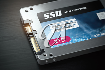 SSD state solid drives disk on black background. 3d illustration
