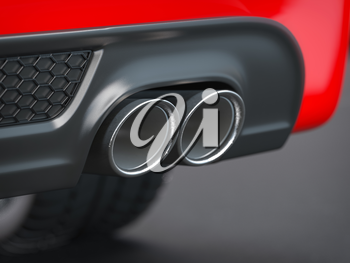 Exhaust pipe of powerful sport car.  3d illustration
