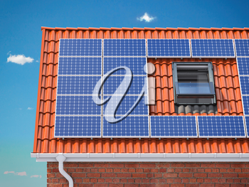 Solar panels for on the red tiled roof of suburban house, Photovoltaic module and regenerative energy system. 3d illustration