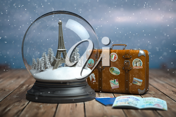 Eiffel tower in the snow globe, vintage suitcase and passports with visa stamp. Travel or trip to Paris and France in winter for celebrate Christmas. 3d illustration