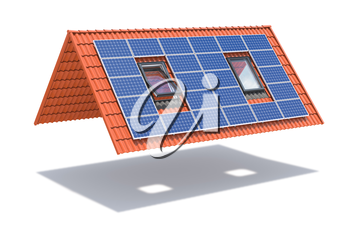 Solar panel on ceramic tile roof with windows isolated on white. 3d illustration