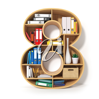 Number 8. Alphabet in the form of shelves with file folder, binders and books isolated on white. Archival, stacks of documents at the office or library. 3d illustration
