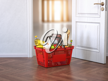Food and eats delivery concept. Shopping basket with grocery in front of open door. 3d illustration
