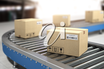 Сardboard boxes on conveyor in warehouse. Delivery, storage and distribution service concept. 3d illustration