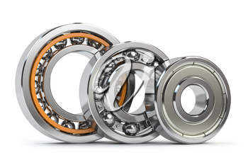 Bearings of differnent types isolated on white background. 3d illustration