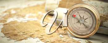 Compass on vintage old map.  Travel geography navigation and adventure concept background. 3d illustration