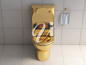 Golden toilet bowl in wc. 3d illustration