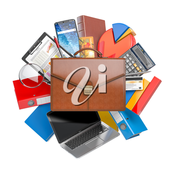 Busines, accounting and finance. Briefcase with business charts and  calculator isolated on white. Stock market portfolio concept 3d illustration