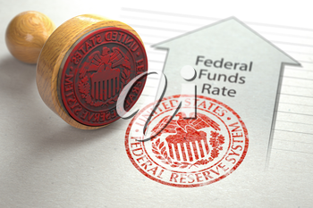 Federal funds rate increase. Arrow with growth of federal fund rate and stamp of federal reserve FRS symbol. 3d illustration
