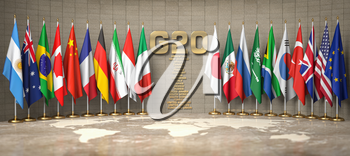 G20 summit or meeting concept. Row from flags of members of G20 Group of Twenty and list of countries in a conference room. 3d illustration