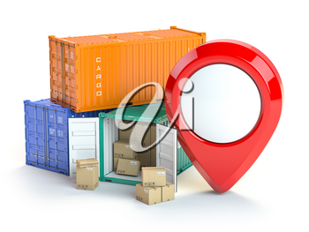 Cargo containers and pin isolated on white. Delivery, shipping and storage service. 3d illustration