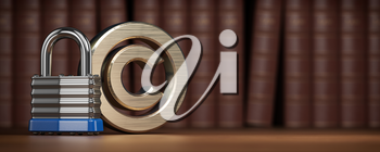 Copyright symbol with padlock on law books background. Intellectual property protection concept. 3d illustration
