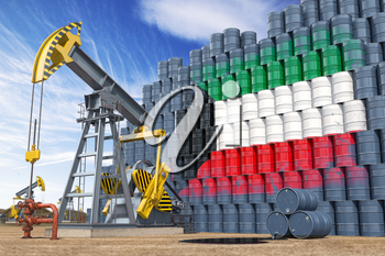 Oil production and extraction in Kuwait. Oil pump jack and oil barrels with Kuwait flag. 3d illustration