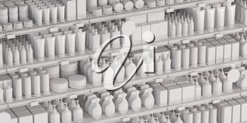 White supermarket shelf with cosmetics products, bottles, tubes, boxes, personal care products. 3d illustration