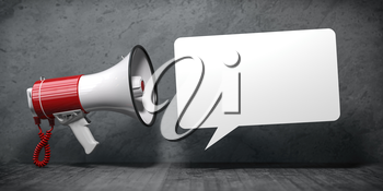 Megaphone with speech bubble for announcement text. Marketing and communication. 3d illustration