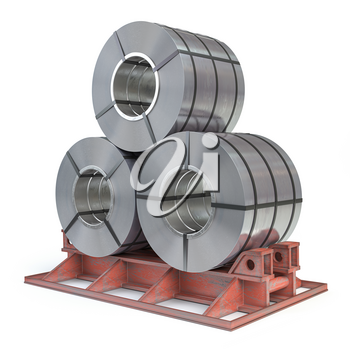 Steel sheet rolls isolted on white. Production, delivery and storage of metal products. 3d illustration