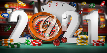 2021 Happy New Year in casino. Numbers 2021 from roulette, casiino chips with dice and card on green table. 3d illustration