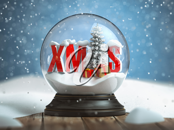 Merry Cristmas, Snowball witn Xmas on the wooden table. 3d illustration