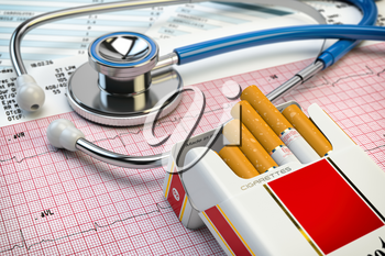 Stop smoking concept. Stethoscope, pack of cigarettes and electrocardiogram report. Examination of heart. 3d illustration