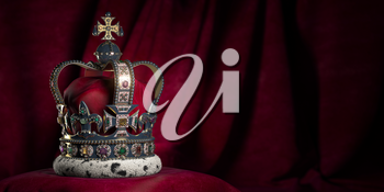 Royal golden crown with jewels on pillow on pink red background. Symbols of UK United Kingdom monarchy. 3d illustration