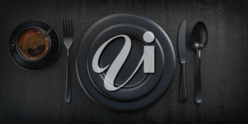 Top view of black plate, fork, knife, spoon and cup of coffee on black grunge table. 3d illustration
