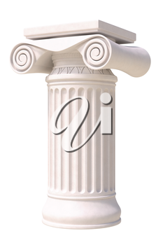 Antique column in greek style. Side view. Isolated on white background.