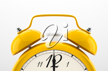 Ringing alarm clock. Yellow table shelf vintage clock on white background. Deadline, wake up, time is up, act fast, sale reminder, hot prices concept.