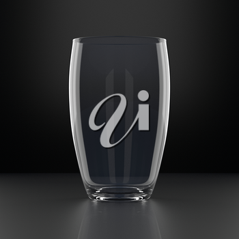 Full Water Glass on black background. Drinking glassware. 3D illustration.
