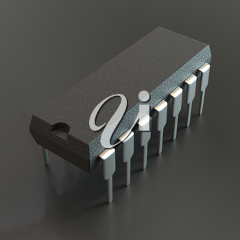 DIP chip package on black background. Technology, electronic industry, research and development, future gadgets concept.
